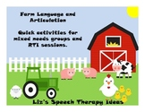 Language and Articulation on the Farm - Activities for mix