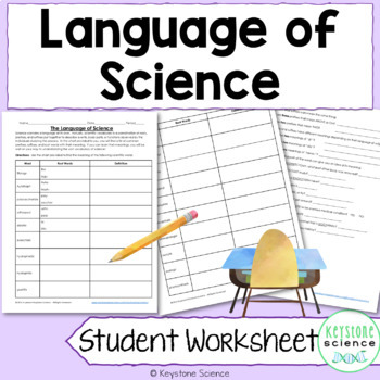 Language of Science Worksheet with KEY