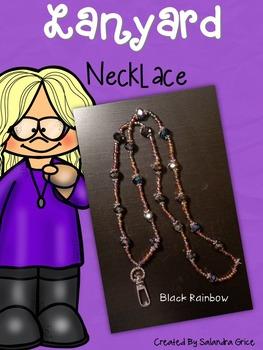 Lanyard Necklace- Black Rainbow