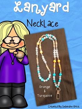 Lanyard Necklace- Orange and Turquoise