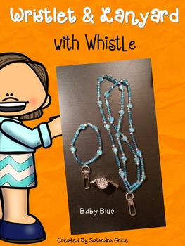 Lanyard and Wristlet with Rhinestone Whistle- Baby Blue