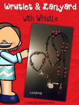 Lanyard and Wristlet with Rhinestone Whistle- Ladybug