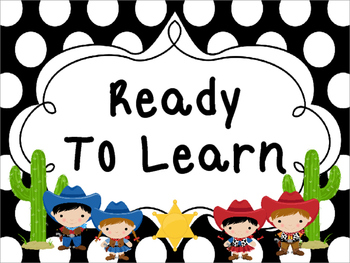 Large Black and White Cowboy themed Behavior Clip Chart-7 Cards
