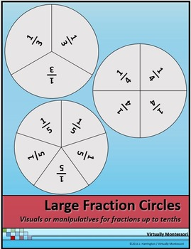 Large Fraction Circles Manipulatives or Visuals/Posters