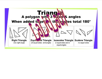3 Large Sized Geometry Posters Classroom Wall: Angles, Pol