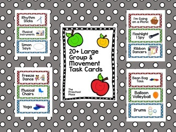 Large Group, Circle Time, and Movement Time Task Cards for
