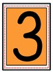 Large Printable Wall Numbers Orange background with Red dot frame
