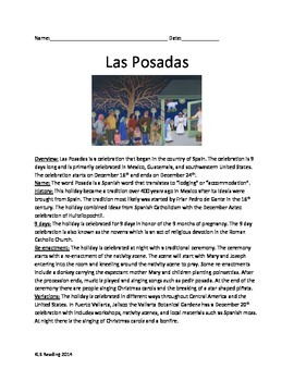 Las Posadas - Holiday - Review Article Questions Vocabular