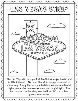 Las Vegas Strip Informational Text Coloring Page Activity