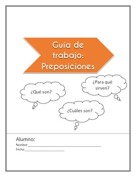 Las preposiciones (prepositions) spanish worksheet