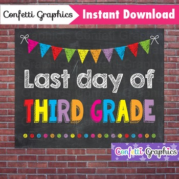 Last Day of Third Grade 3rd Chalkboard Sign Last Day of Sc
