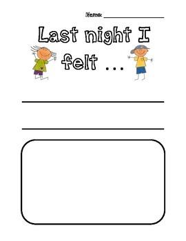 First Day of School Activity- Last Night I Felt...