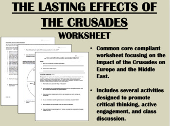 Lasting Effects of the Crusades worksheet - Kingdom of Hea