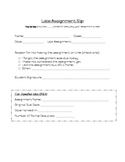 Late Assignment Slip