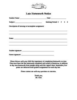 Late Homework Notice
