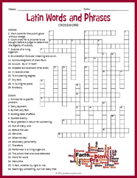 Latin Crossword Puzzle