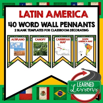 Latin America Word Wall Pennants (World Geography)