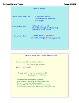 Latin GCSE. Verbs of fearing. Subjunctive.