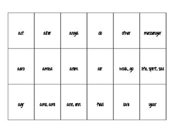 Latin/Greek Roots Matching Game 1