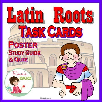 Latin RootsTask Cards Plus Poster, Study Guide, and Quiz