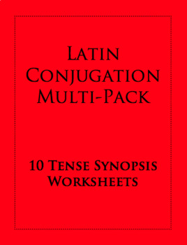 Latin Conjugation Worksheets: Tense Synopsis 10-Pack