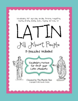 Latin Vocabulary Puzzles - Review of People Words for Firs