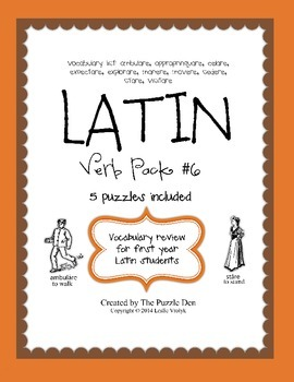 Latin Vocabulary Puzzles - Verb Pack 6 for First Year Lati