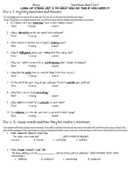Latin and Greek Stems-- List 2 Worksheet