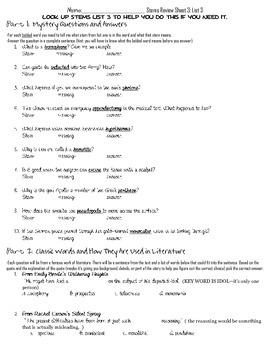 Latin and Greek Stems-- List 3 Worksheet