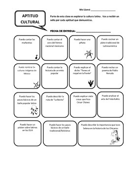 Latino Cultural Aptitud / Aptitud Cultural Checklist