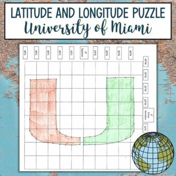 Latitude & Longitude Coordinates Puzzle Practice-Universit