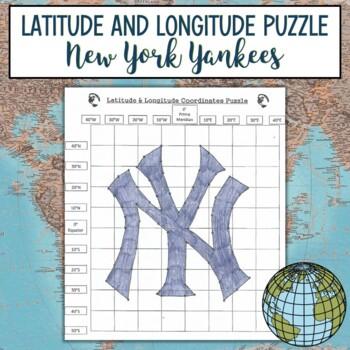 Latitude & Longitude Coordinates Puzzle Practice-Yankees Logo