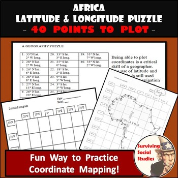 Latitude and Longitude Worksheet - Africa Coordinates Puzzle