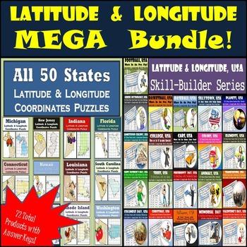 Latitude and Longitude HUGE BUNDLE! - 50 States Puzzles &