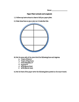 Latitude and Longitude Paper Plate Activity