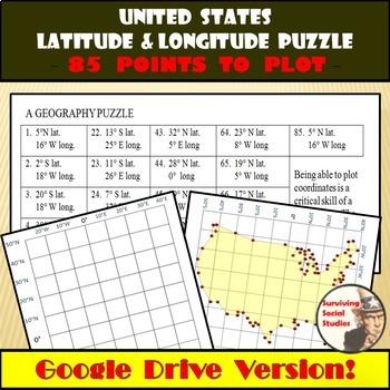 Latitude and Longitude - United States Coordinates Puzzle