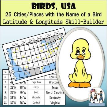 Latitude and Longitude Activity - Birds, USA