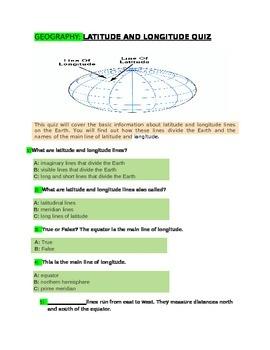 Latitude and longitude Quiz for 4th Grade