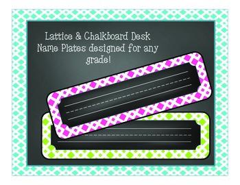 Lattice & Chalkboard Desk Name Plates