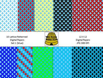 Lattice Digital Papers Set 1 Blue {10 backgrounds for pers