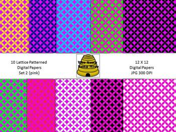 Lattice Digital Papers Set 2 Pink {10 backgrounds for pers