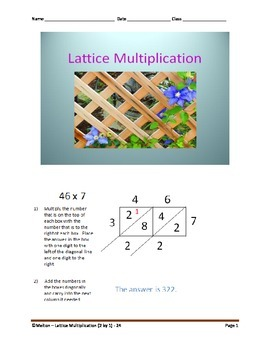 Lattice Multiplication (2 by 1) - 24 Problems