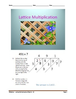 Lattice Multiplication (3 by 1) - 12 Problems