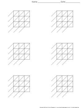 Lattice Multiplication: Blank Practice Sheet 3-digit by 3-