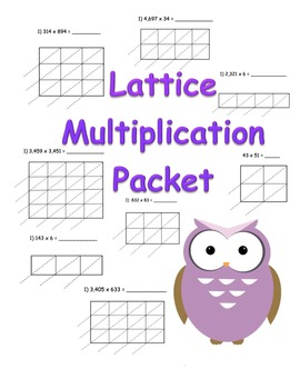 Lattice Multiplication Packet (90 pages) 2x1 3x1 4x1 2x2 3