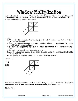 Lattice/Window Multiplication Math Center Homework Practice