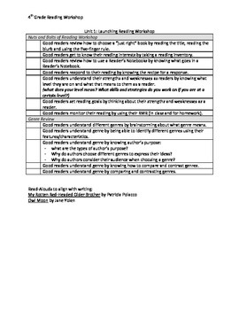 Launching Reading Workshop Objective Checklist
