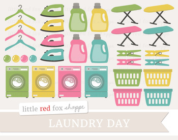 Laundry Clipart; Cleaning, Soap, Basket, Hanger, Washing M