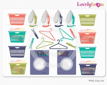 Laundry clipart set, PNG clip art (106)
