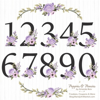 Lavender Floral Numbers With Vectors - Flower Clip Art, Pe